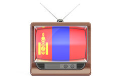 Old tv with flag of Mongolia. Television concept, 3D rendering Royalty Free Stock Photos