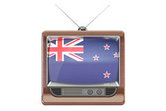 Old tv with flag of New Zealand. Television concept, 3D renderin Royalty Free Stock Images
