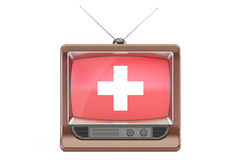 Old tv with flag of Switzerland. Swiss Television concept, 3D re Stock Image