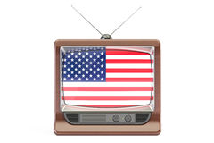 Old tv with flag of USA. American Television concept, 3D rendering Stock Photography