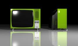 Old TV - green Television vector illustration