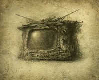 Old TV Stock Photo