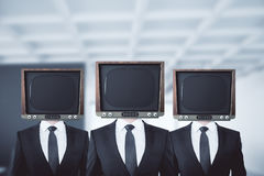 Old TV headed businessmen Royalty Free Stock Photos