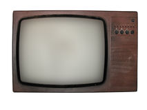 Old tv isolated over white background Stock Images