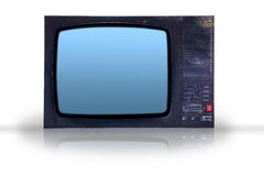 Old tv junk. Dirty old tv separated on the white background Stock Photos