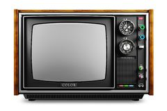 An old TV with a monochrome kinescope isolated 3d royalty free stock photography