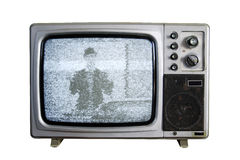 An old TV with the noise on white background.  Royalty Free Stock Photos