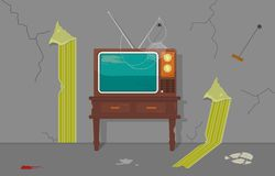 Old TV in Old House stock illustration