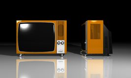 Old TV - orange Television Royalty Free Stock Image