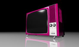 Old TV - pink Television Stock Image