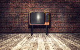 Old TV in room. Old TV in a room grunge background Stock Photography