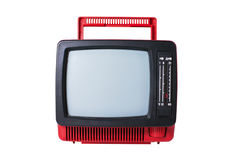 Old  TV set. Old analog TV set isolated Stock Photo