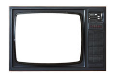 Old TV set. Old 70s style retro TV set with blank screen Royalty Free Stock Image