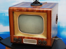 Old TV set. Old grunge television set on the table Stock Image