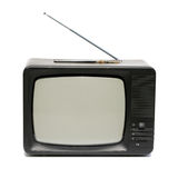 Old TV Set. Old portable television photo over white Royalty Free Stock Photo
