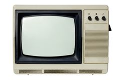 Old TV set. An old TV set (the 70s) isolated on white Stock Images