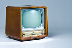 Old TV set. An antique soviet television set on blueish background Royalty Free Stock Photos
