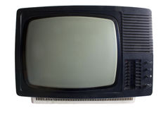 Old TV set. Black and white, isolated Royalty Free Stock Photos