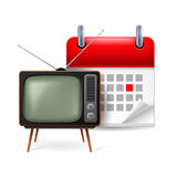 Old TV-set and calendar. Icon of old TV-set and calendar with marked day Royalty Free Stock Photos