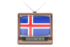 Old TV set with flag of Iceland. Icelandic television concept, 3 Royalty Free Stock Images