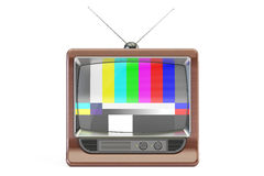 Old TV set with NTSC tv pattern signal for test purposes, 3D rendering stock illustration