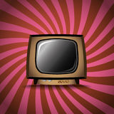 Old TV on stripes background Stock Photography