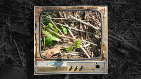 Old TV. Old television adorns the real world stock photography