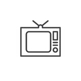 Old Tv, television line icon, outline vector sign, linear style pictogram isolated on white Stock Images