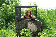 The old TV in village Stock Images