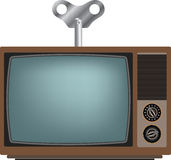 Old TV with winder. Royalty Free Stock Images
