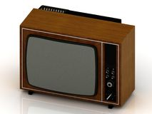 Old TV in the wooden case 1970 Royalty Free Stock Images