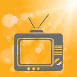Old tv on a yellow background Royalty Free Stock Photos