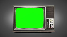 Old tv 01. Zoom animated old television with bad frequency stock footage