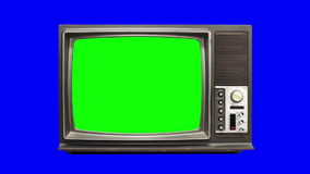Old tv 04. Zoom animated old television with bad frequency, blue background stock video