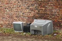Old TVs thworn out Royalty Free Stock Photography