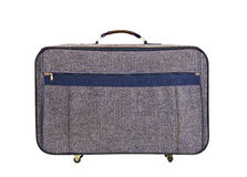 Old Tweed Suitcase Isolated Stock Photos