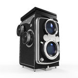 Old Twin Lens Camera. Isolated on white background. 3D render Stock Images