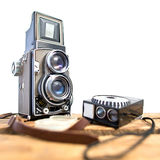 Old twin-lens reflex camera with light meter Stock Photography