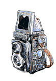 Old twin lens reflex-vector. Vector painting of old twin lens reflex on white background stock illustration