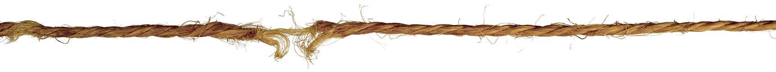 Old twisted frayed rope. Isolated on white background stock images