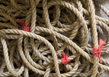 Old twisted rope Stock Images