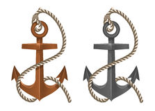 Old two anchor with rope on white background Stock Images