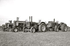 Old two cylinder John Deere tractors(black and white) Royalty Free Stock Image