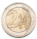 Old two euro coin. Royalty Free Stock Images