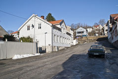 Old two floor wooden house in Halden. In Halden, there are many old houses, most houses are from after 1826 when a major fire put almost the entire city Royalty Free Stock Image
