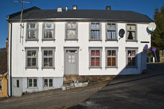 Old two floor wooden house in Halden. Royalty Free Stock Photo