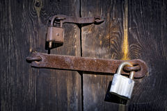 Old two rusty locks Stock Images