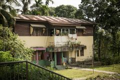 Old two-storey house in port Blair Andaman Islands India. Old two-storey peasant house. Old two-storey house in port Blair Andaman Islands India. Typical middle royalty free stock photography