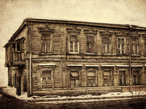 Old two-storey house, vintage. Samara,Russia Royalty Free Stock Image
