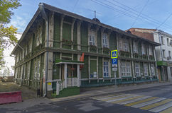 Old two-storey wooden house in the center of Moscow. Stock Image